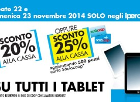 Supermercati Coop: tablet scontati del 25%