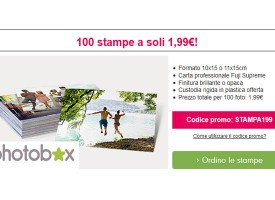 Photobox: 100 stampe a soli 1.99 euro