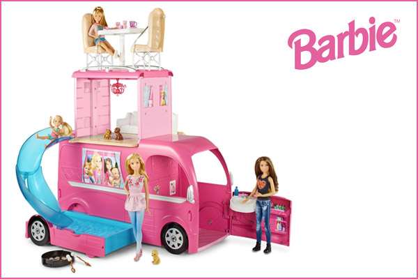 Barbie camper di barbie pop up piscina e scivolo cjt42 for Piscina di barbie