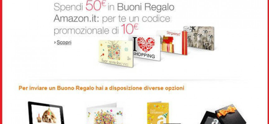 Le carte regalo Amazon ti regalano 10 euro
