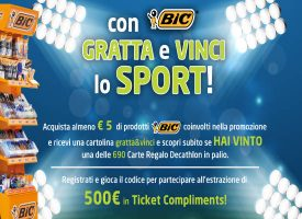 Con Bic vinci una carta regalo Decathlon e 500 euro in Ticket Compliments